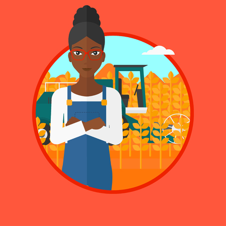 peasant woman: An african-american young satisfied farmer standing on the background of combine working in wheat field. Combine harvesting wheat. Vector flat design illustration in the circle isolated on background.