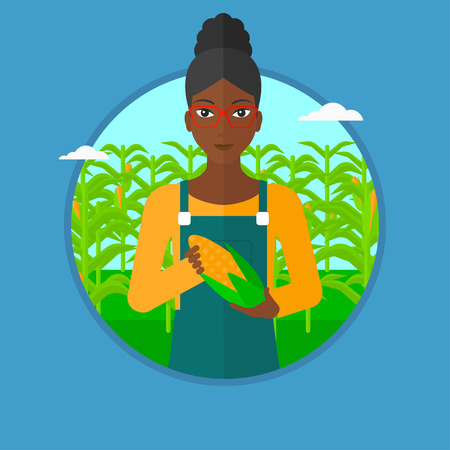 corn field: An african-american smiling farmer holding a corn cob on the background of corn field. Young happy female farmer collecting corn. Vector flat design illustration in the circle isolated on background.