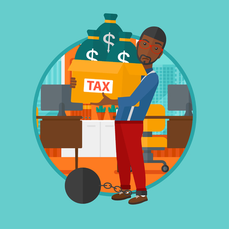 Chained to a large ball an african-american businessman standing in the office and carrying heavy box with bags full of taxes. Vector flat design illustration in the circle isolated on background.