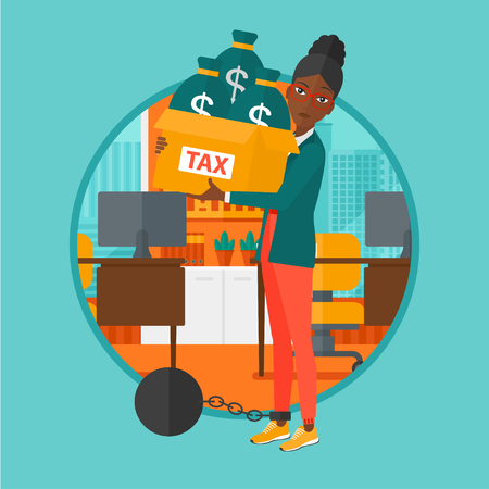 carrying box: Chained to a large ball an african-american business woman standing in the office and carrying heavy box with bags full of taxes. Vector flat design illustration in the circle isolated on background.