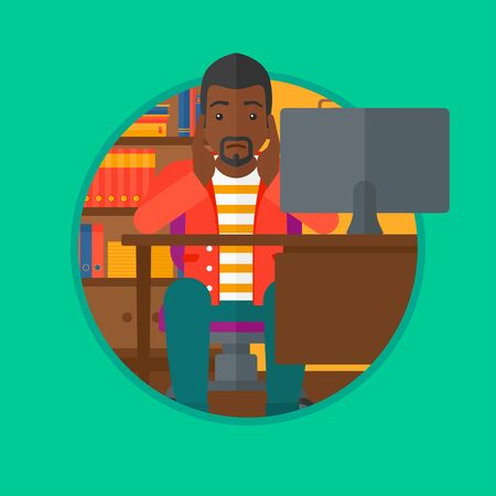 Worried african-american man sitting at workplace in front of computer and clutching his head. Concept of business bankruptcy. Vector flat design illustration in the circle isolated on background.