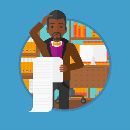 African-american worried man holding a long bill in office. A frightened bankrupt clutching his head. Business bankruptcy concept. Vector flat design illustration in the circle isolated on background.
