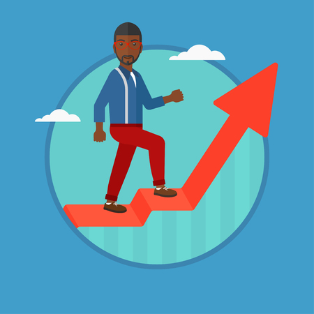 An african-american businessman standing on an uprising chart. Businessman standing on chart going up. Concept of business success. Vector flat design illustration in the circle isolated on background Illustration