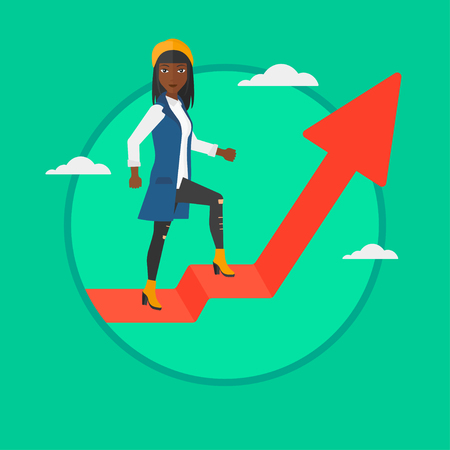 uprising: An african-american business woman standing on an uprising arrow. Successful young business woman standing on arrow going up. Vector flat design illustration in the circle isolated on background