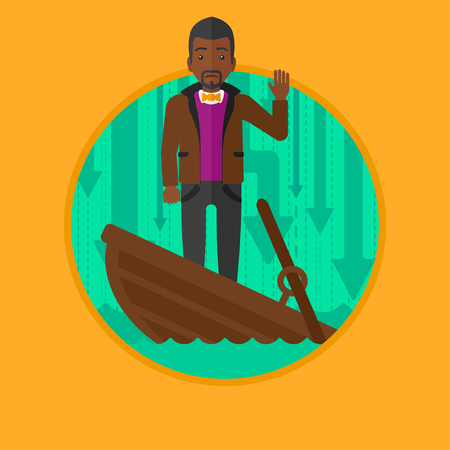An african-american scared businessman standing in a sinking boat. Businessman asking for help. Concept of business bankruptcy. Vector flat design illustration in the circle isolated on background. Illustration