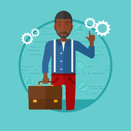 African-american businessman with briefcase pointing at cogwheels. Businessman standing on a blue background with business icons. Vector flat design illustration in the circle isolated on background. Ilustração