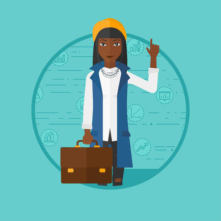 An african-american business woman with briefcase pointing at cogwheels. Woman standing on a blue background with business icons. Vector flat design illustration in the circle isolated on background. 向量圖像