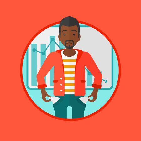 An african-american businessman showing his epmty pockets on the background of decreasing chart. Concept of business bankruptcy. Vector flat design illustration in the circle isolated on background. Illustration