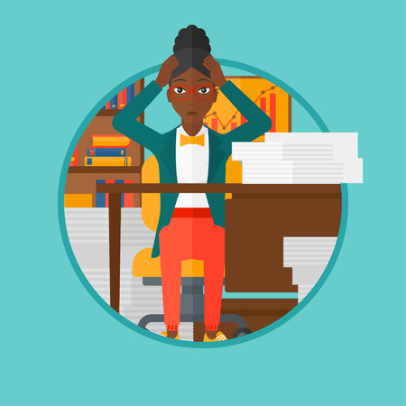 overload: African-american woman in despair sitting at workplace and clutching her head. Business woman sitting in front of heap of papers. Vector flat design illustration in the circle isolated on background. Illustration