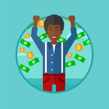 An african-american happy businessman standing with raised hands. Man standing under flying money. Concept of business success. Vector flat design illustration in the circle isolated on background. Illustration
