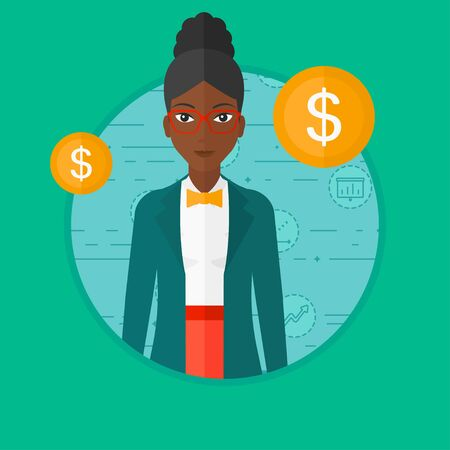 African-american business woman standing on a blue background with business icons and dollar gold coins. Business success concept. Vector flat design illustration in the circle isolated on background.