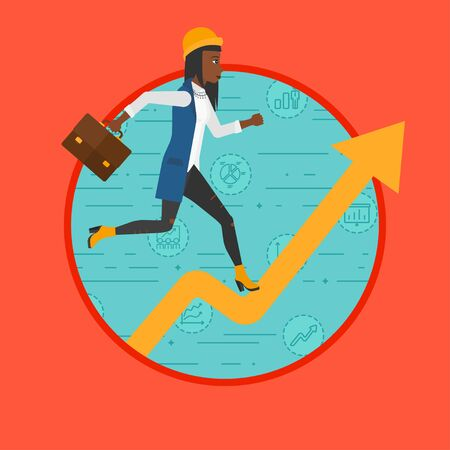 An african-american business woman running along the growth graph on a background with business icons. Concept of business success. Vector flat design illustration in the circle isolated on background 向量圖像