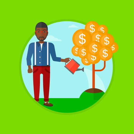 plant stand: An african-american businessman watering a money tree. Businessman taking care of his finances. Concept of successful business. Vector flat design illustration in the circle isolated on background. Illustration