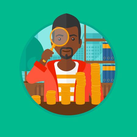 An african-american businessman sitting in the office and looking through magnifier at golden coins. Concept of business success. Vector flat design illustration in the circle isolated on background.