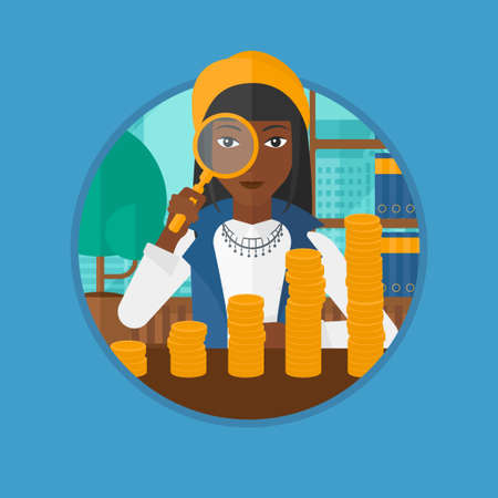 African-american business woman sitting in the office and looking through magnifier at golden coins. Concept of business success. Vector flat design illustration in the circle isolated on background.
