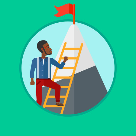 stair climber: An african-american businessman climbing the ladder to get the red flag on the top of mountain. Concept of business goal, career. Vector flat design illustration in the circle isolated on background.