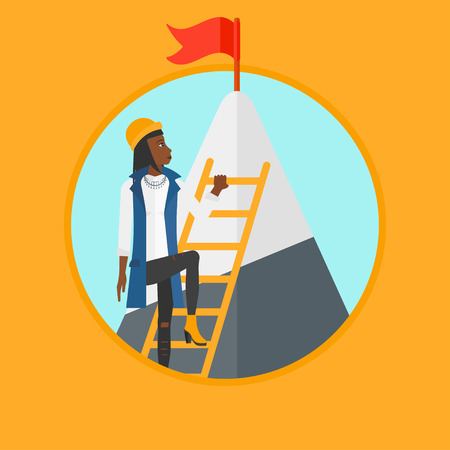 stair climber: An african-american business woman climbing the ladder to get the red flag on the top of mountain. Concept of business career. Vector flat design illustration in the circle isolated on background. Illustration