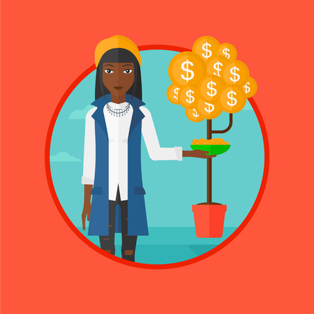 An african-american business woman catching coins from money tree. Woman getting income from business. Business success concept. Vector flat design illustration in the circle isolated on background. Illustration