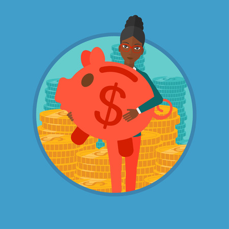 An african-american business woman holding a big piggy bank on the background of stacks of golden coins. Business success concept. Vector flat design illustration in the circle isolated on background.