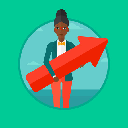An african-american business woman standing with a big arrow in hands. Woman holding arrow pointing up. Business success concept. Vector flat design illustration in the circle isolated on background. Illustration