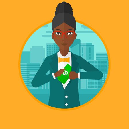 African-american business woman putting money in her pocket on a city background. Business woman hiding bribe. Corruption concept. Vector flat design illustration in the circle isolated on background.