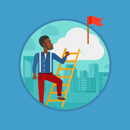 An african-american businessman climbing the ladder to get the red flag on the top of the cloud. Concept of business goal, career. Vector flat design illustration in the circle isolated on background. Çizim
