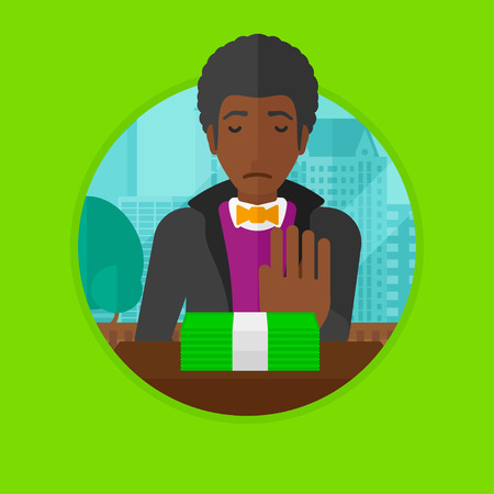 refusing: African-american businessman sitting in office and moving money away. Man refusing to take bribe. Man rejecting an offer of bribe. Vector flat design illustration in the circle isolated on background.