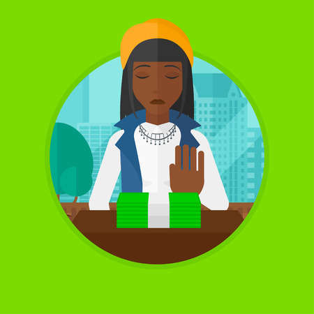 moving office: African-american woman sitting in office and moving money away. Woman refusing to take bribe. Woman rejecting an offer of bribe. Vector flat design illustration in the circle isolated on background. Illustration