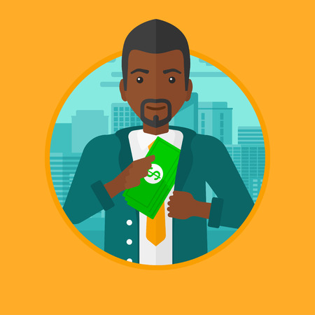 putting money in pocket: An african-american businessman putting money in his pocket on a city background. Businessman hiding bribe. Corruption concept. Vector flat design illustration in the circle isolated on background.