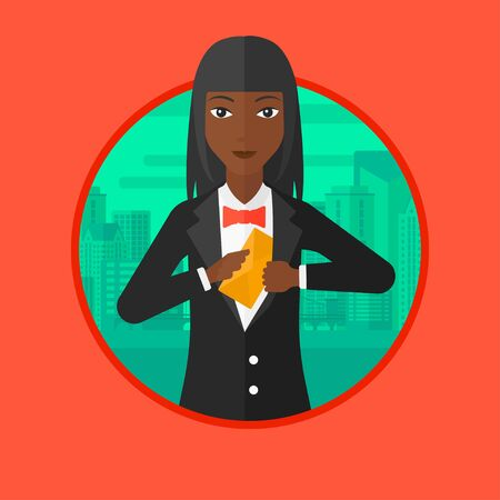 african business: An african business woman putting an envelope in a pocket on a city background. Business woman hiding bribe. Corruption concept. Vector flat design illustration in the circle isolated on background. Illustration
