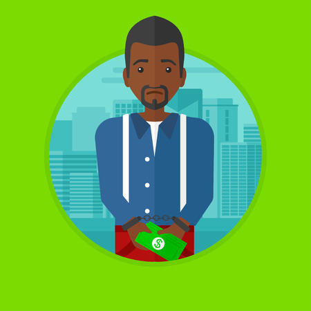 sorrowful: An african-american sorrowful businessman standing in handcuffs with money in hands on a city background. Corruption concept. Vector flat design illustration in the circle isolated on background.