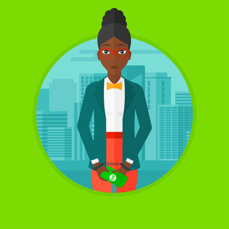 handcuffed: An african-american sorrowful business woman standing in handcuffs with money in hands on a city background. Corruption concept. Vector flat design illustration in the circle isolated on background. Illustration