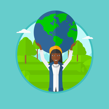 An african-american young happy business woman holding a big globe model over her head in the park. Concept of global business. Vector flat design illustration in the circle isolated on background.