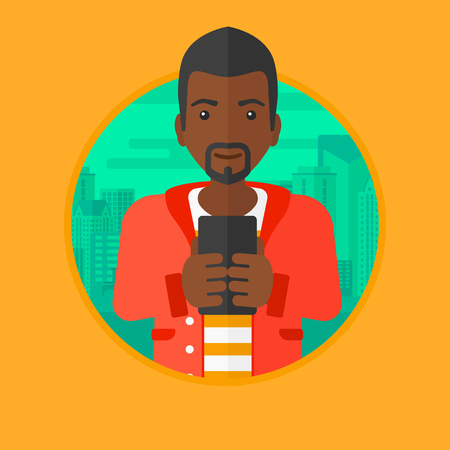using smartphone: An african-american young businessman using smartphone on a city background. Smiling businessman using smartphone for work. Vector flat design illustration in the circle isolated on background. Illustration