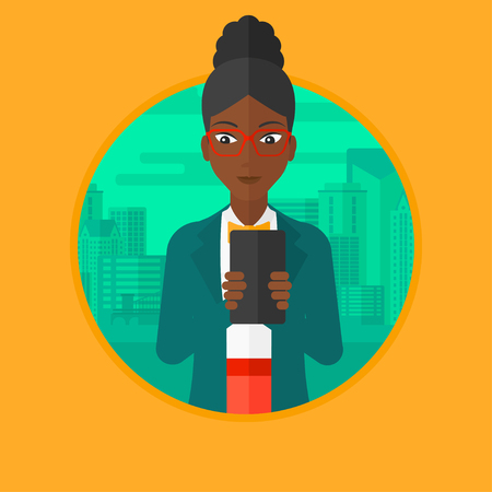 using smartphone: An african-american young business woman using smartphone on a city background. Smiling business woman using smartphone for work. Vector flat design illustration in the circle isolated on background.