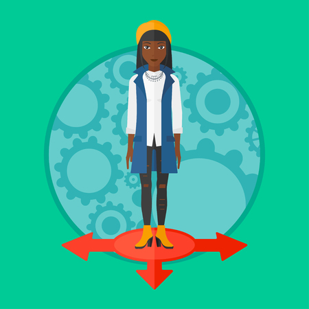 carrer: An african-american smiling woman standing on three alternative ways. Young woman choosing carrer way. Concept of career choice. Vector flat design illustration in the circle isolated on background. Illustration