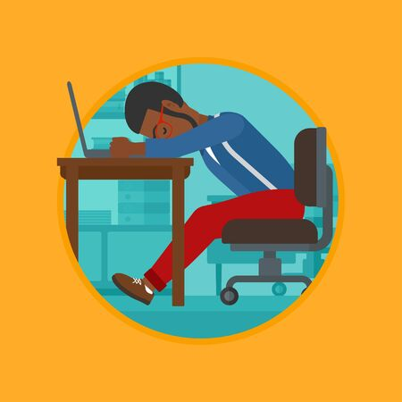 An african-american tired employee sleeping at workplace on laptop keyboard. Overworked young businessman resting at workplace. Vector flat design illustration in the circle isolated on background. Illustration
