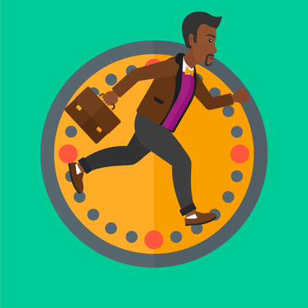 An african businessman with briefcase running on a background of clock. Businessman in a hurry. Concept of stress in business. Vector flat design illustration in the circle isolated on background.