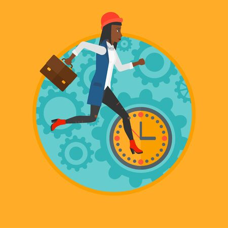 hurry: An african business woman with briefcase running on a background of clock. Business woman in a hurry. Concept of stress in business.Vector flat design illustration in the circle isolated on background