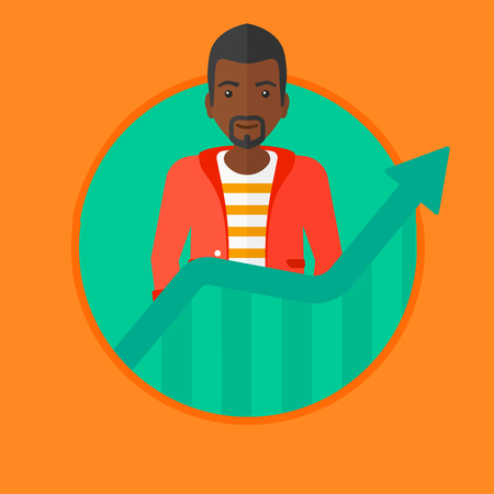 An african-american young successful businessman standing behind the growing chart. Concept of achievement of business success. Vector flat design illustration in the circle isolated on background.