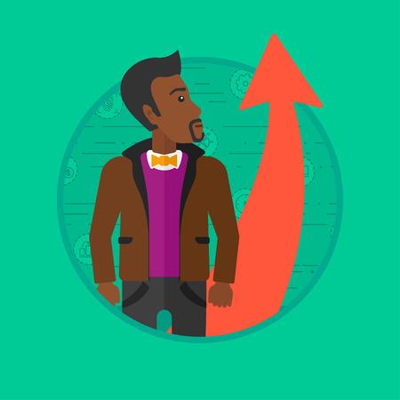Een Afro-Amerikaanse jonge zakenman graag kijken naar een rode pijl omhoog. Concept van zakelijke groei en zakelijk succes. Vector platte ontwerp illustratie in de cirkel geïsoleerd op de achtergrond.