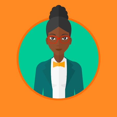 An african-american confident business woman. Young and successful business woman. Vector flat design illustration in the circle isolated on background. Illustration