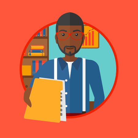employer: An african-american businessman giving a resume in office. Man giving to the employer his curriculum vitae. Job interview concept. Vector flat design illustration in the circle isolated on background.