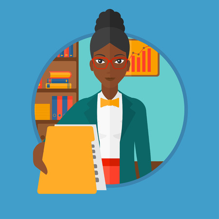 employer: An african-american woman giving a resume in the office. Woman giving to the employer her curriculum vitae. Job interview concept. Vector flat design illustration in the circle isolated on background.