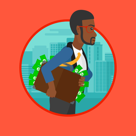 An african man walking with briefcase full of money on a city background. Man hugging briefcase with money. Corruption concept. Vector flat design illustration in the circle isolated on background.