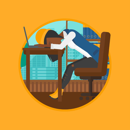 An african-american tired employee sleeping at workplace on laptop keyboard. Overworked young business woman resting at workplace. Vector flat design illustration in the circle isolated on background.