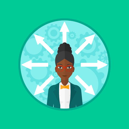Young woman choosing career way. An african-american smiling woman with many arrows around her head. Concept of career choice. Vector flat design illustration in the circle isolated on background.