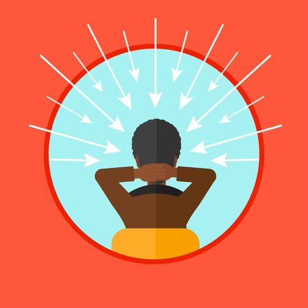 carrer: Rear view of an african-american man with some arrows poinded to his head. Young man choosing carrer way. Concept of career choice. Vector flat design illustration in the circle isolated on background Illustration