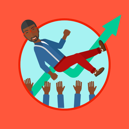 arms lifted up: An african man get thrown into the air by coworkers on the background of growing chart. Successful businessman during celebration. Vector flat design illustration in the circle isolated on background.