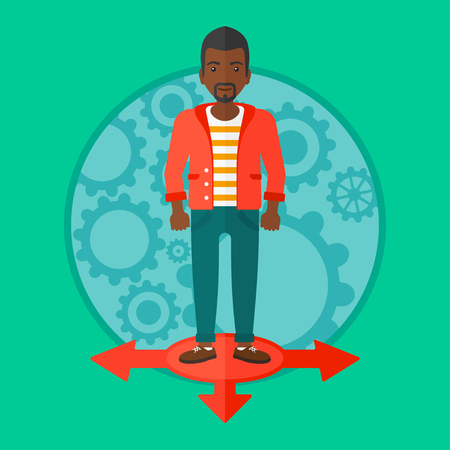 hesitate: An african-american smiling man standing on three alternative ways. Young man choosing carrer way. Concept of career choice. Vector flat design illustration in the circle isolated on background.